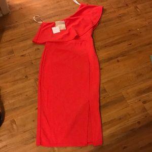 One shoulder frill midi dress